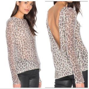 Skull cashmere 100% open back leopard sweater